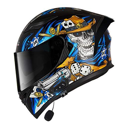 ZLYJ Caschi Casco Moto Integrato Bluetooth Casco Moto Integrale Omologato ECE Casco Moto con Doppia Lente Anti-Appannamento B,L(59-60cm)