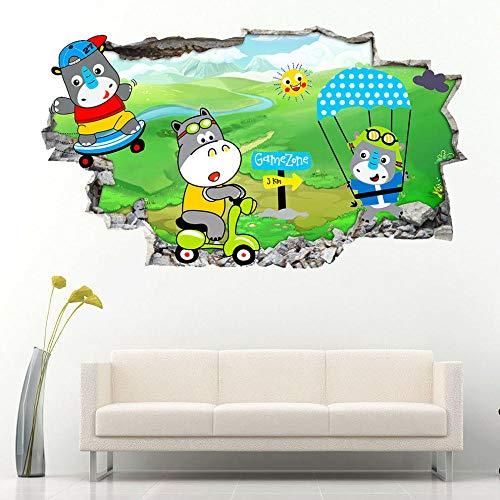 Rhino Hippo Children Nursery Cool Wall Stickers Bedroom 3D Kids Room Vinyl Stickers