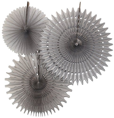 Hanging Honeycomb Tissue Fan, Gray, Set of 3 (13 inch, 18 inch, 21 inch)