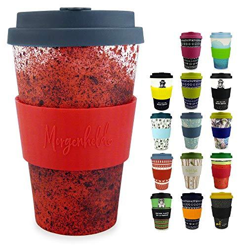 Morgenheld il tuo bicchiere di bambù alla moda | Coffee-to-Go bicchiere | bicchiere con coperchio in silicone e fascetta dal design futuristico da 400ml - Holi Red
