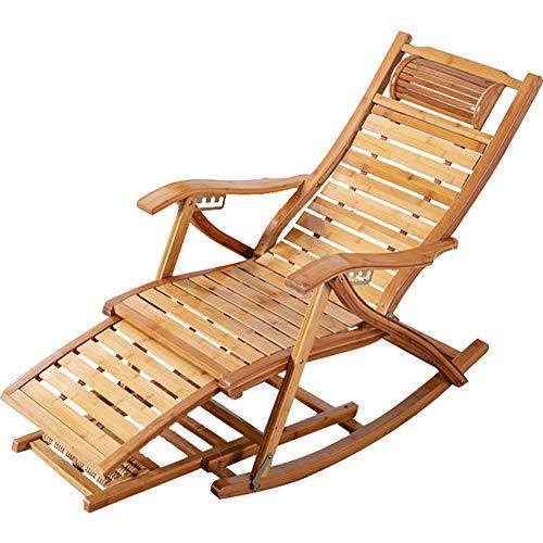 HUAYIN Plegable de Madera de bambú del Eje de balancín del Patio, Silla de los reclinables de la Gravedad | Sillón reclinable, para Porche, balcón, Patio, terraza, césped