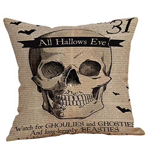 GDBEST Halloween Pillow Cover Pumpkin Classic Pattern Print Cushion Cover Soft Decorative Throw Pillow Case Creative Pillowcase for Sofa Cafe Car Couch Bed Home Decor Gift Pillow Cases(18' x 18')