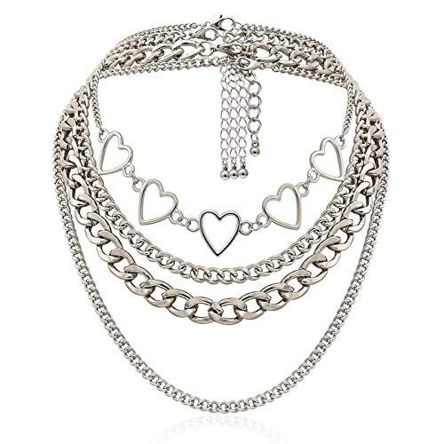 COSYOO Herzförmige geschichtete Kette Halskette Legierung Choker Halskette Hip Hop Halskette Punk Choker Halsketten