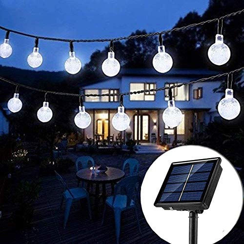 Solar String Lights Globe 33 Feet 60 Crystal Balls Waterproof LED Fairy Lights 8 Modes Outdoor Starry Lights Solar Powered String Light for Garden Yard Home (White)