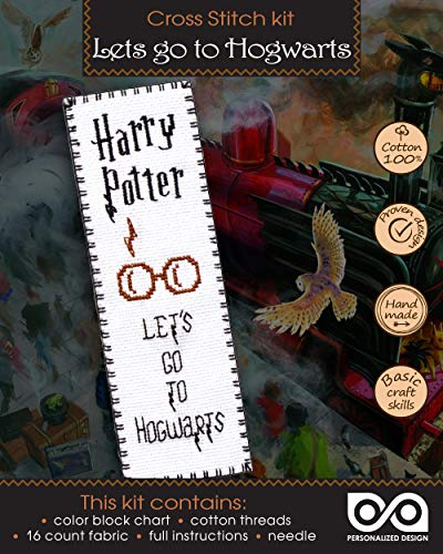 "Harry Potter Cross Stitch Bookmark Kit for Kids ""Let's Go to Hogwarts"""