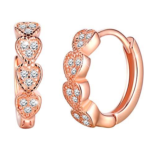 Unendlich U Frauen Mädchen Modisch Einfache Damen Herz Creolen 925 Sterling Silber Ohrhänger Zirkonia Ohrringe Ohrschmuck,Rosegold