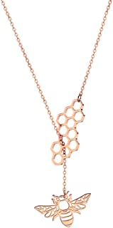 Stainless Steel Geometric Bee Hive with Honey Bee Lariat Y Necklace Bee Jewelry