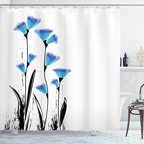 vrupi Duschvorhang Vektorblume in Otto-Aquarellbild türkischer osmanischer Tulpenmotiv, wasserdichtes Material, mit 12 Kunststoffhaken, Wohndekoration