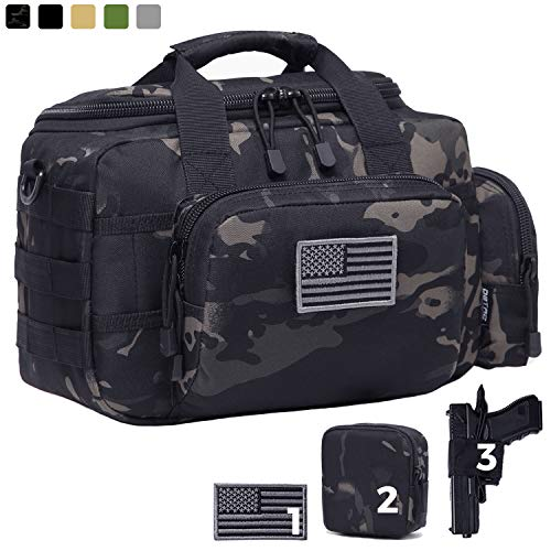 DBTAC Gun Range Bag Small   Tactical 2X Pistol Shooting Range Duffle Bag with Lockable...