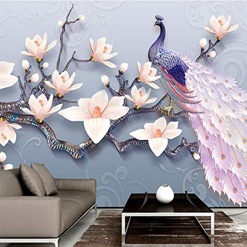 VGFGI Papel pintado autoadhesivo de PVC Mural 3D, pintura de pared de pavo real Magnolia en relieve para decoración del hogar, papel tapiz de vinilo