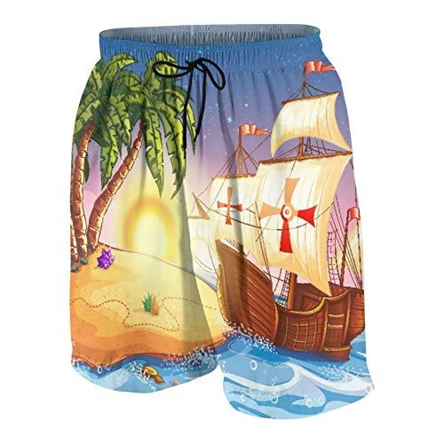 De Los Hombres Casual Pantalones Cortos,Barco pirata, barco fantasma en un mar exótico cerca de la isla del tesoro con palmeras y cofre abierto,Traje de Baño Playa Ropa de Deporte con Forro de Malla