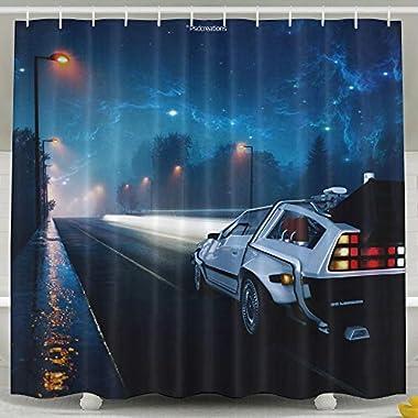 Wons Back To The Future DeLorean Street Night Digital Art Fan Art Fantasy Art Illustration Funny Shower Curtain 6072inch