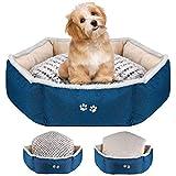 KROSER Cama para Perros Pequeños y Gatos Cama para Mascotas con Almohada Reversible (Cálido y Frío) Fondo Antideslizante y Impermeable Suave y Calmante Fundas Extraíbles y Lavables a Máquina 56CM
