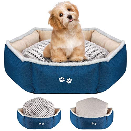 KROSER Dog Cat Bed 56cm Stylish Pet Bed with Reversible Pillow (Warm and Cool) Non-slip Waterproof Bottom Soft Calming Puppy Bed Machine Washable & Removable Covers Sleeping Bed for Small Dogs/Cats