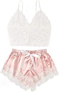 iQKA Women Lingerie,Sexy Corset Lace Camisole Bowknot Shorts Sleepwear Pajamas Set Underwear Tops+Briefs 2PC