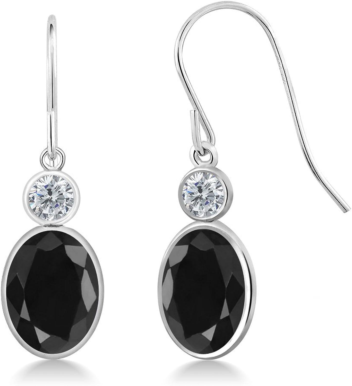 3.52 Ct Oval Black Sapphire G H Diamond 14K White gold Earrings