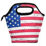 Bolsa de almuerzo Grunge bandera americana reutilizable aislada bolsa para mujeres niños parrillas, almuerzos, preparación de comidas, bolso de mano para la escuela, picnic, oficina