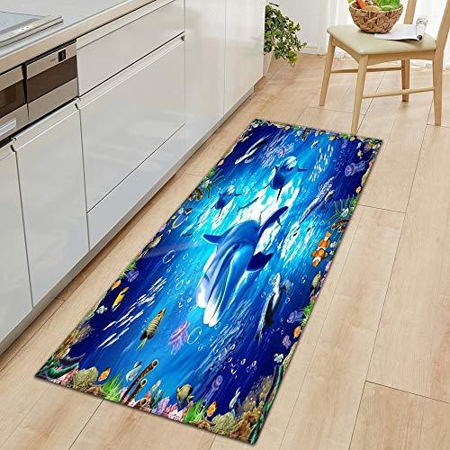 OPLJ 3D Underwater World Küchenmatte Eingang Fußmatte Schlafzimmer Bodendekoration Wohnzimmer Teppich rutschfeste Fußmatte A13 60x180cm