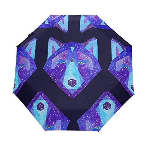 RXYY - Paraguas plegable con diseño de lobo de animales para mujeres, hombres, niños, niñas, a prueba de viento, compacto, ligero y ligero