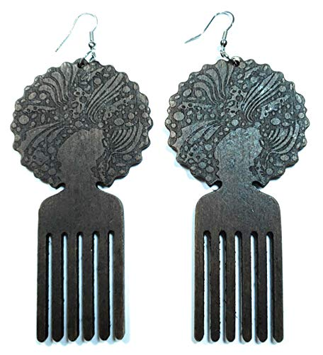 Teri's Boutique Afrocentric African Afro Pick Comb Style Women Hair Wood Natural Color Drop Dangle Earrings (Dark Brown)