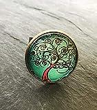 Handmade Lebensbaum Ring 20mm Motiv Glas-Cabochon bronze vintage Statement Damen handgefertigt...