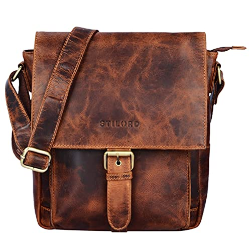 STILORD 'Nevio' Herrentasche Leder Umhängetasche kleine Messenger Bag Elegante Handtasche im Vintage Design Schultertasche für 10.1 Zoll Tablet iPad echtes Leder, Farbe:Kara - Cognac