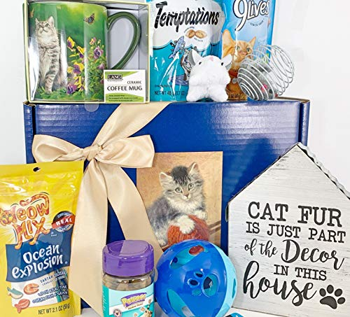 Cat Gift Box Basket for A Favorite Feline Fur Baby Kitty Kitten and His/Her Guardian - Bundle of 9 Items - Charming Sign, Quality Mug, Treats, and Toys