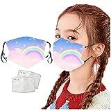 1pc Unisex Kinder Gesichtsschutz mit 2pc Filter Universal Fashion Cartoon gedruckt niedlich 3 Schicht Bandanas Schal-3