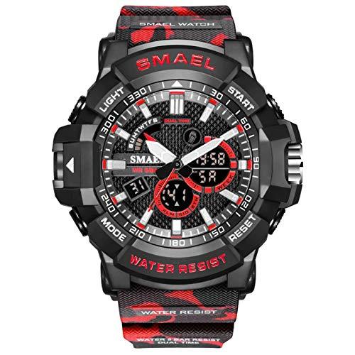 JTTM Reloj Militar para Hombre Deporte Relojes Analógico Y Digital LED Electrónico Grande Relojes Resistente Al Agua 50M,Rojo