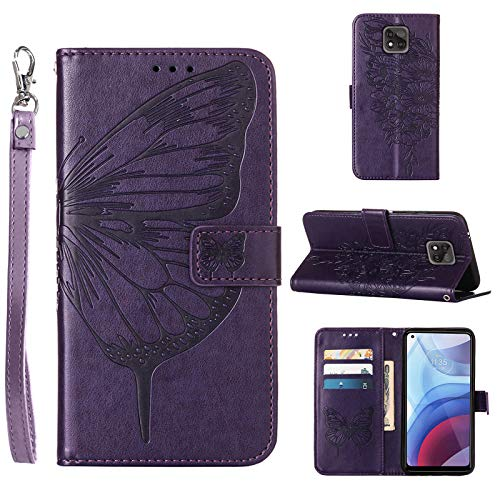 Compatible for Moto G Power 2021 Case Wallet,[Kickstand][Wrist Strap][Card Holder Slots] Butterfly Floral Embossed PU Leather Flip Protective Cover for Moto G Power (2021) Case (Purple)
