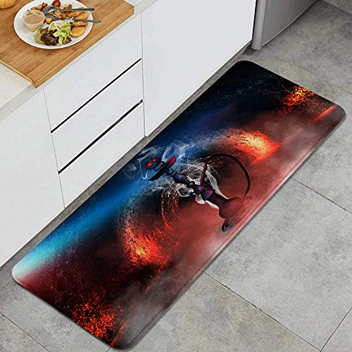 VINISATH Cachimba en una habitación Oscura con Humo,luz de neón Alfombrillas de Cocina Antideslizantes Felpudo Lavable Juego de Alfombras de Microfibra