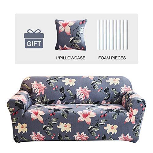 Joydream 1 funda elástica para sofá antideslizante, protector de muebles elástico para sillón/sofá, funda de sofá con 1 funda de cojín (mediano, flores de Begonia)