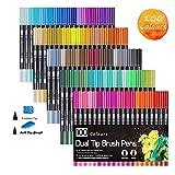 Feutres de coloriage, 100 Couleurs Art aquarelle Brosse Pointe stylos et pointe fine pour adulte livres de coloriage, croquis, dessin, peinture, calligraphie. Noir …