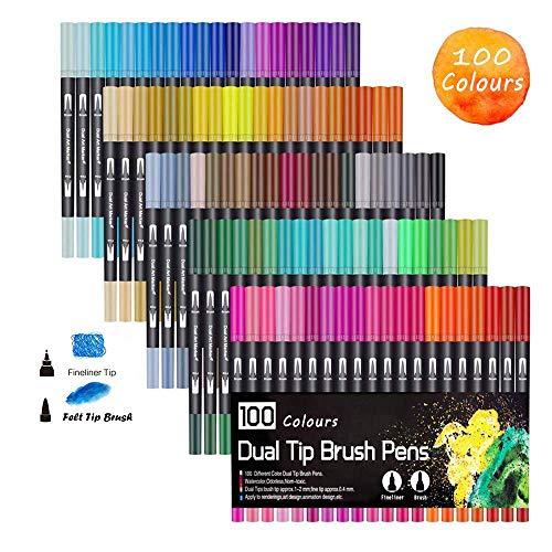 Pennarelli per colorare a doppia punta, pennarelli per arte e disegno ad acquerello 100 Colours W