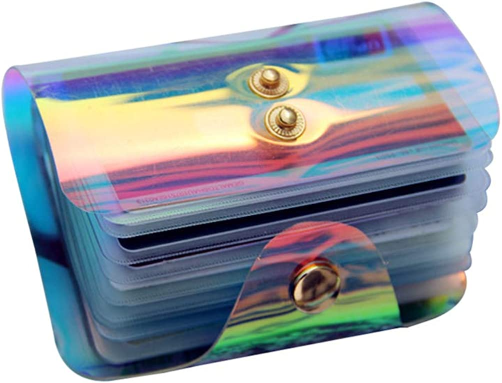 OSALADI Holographic Card Case Fashion Coin Purse Holographic Pack Credit Card Holder for Men and Women