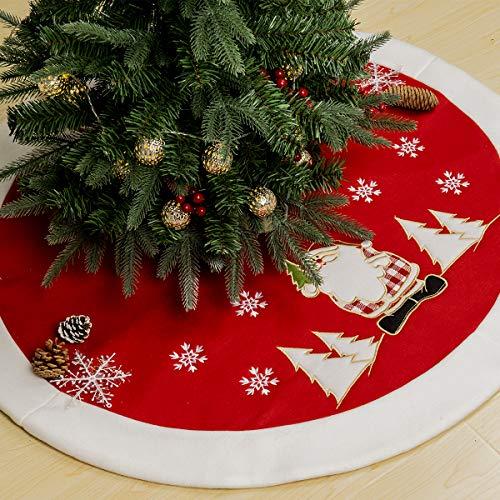 GIGALUMI Gonna per Albero di Natale 90cm Tappetino per Albero di Babbo Natale Copertura per Albero Base per Decorazioni Natalizie Ornamenti Decorazioni Natalizie (Rosso)