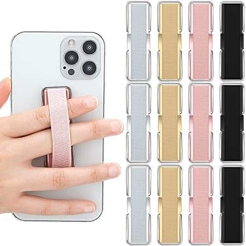 12 Pieces Phone Strap Finger Strap Brackets Phone Finger Holder Back of Phone Grip with Stand Cell Phone Elastic Finger Holder Phone Grip Holder for Smartphones and Small Tablets, 2.87 x 0.87 Inch