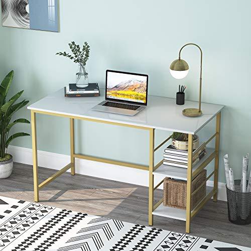 Tribesigns Computertisch mit Ablagefächern, moderner Schreibtisch Schreibtisch für Home Office, weiß und gold, 120 cm x 60 cm