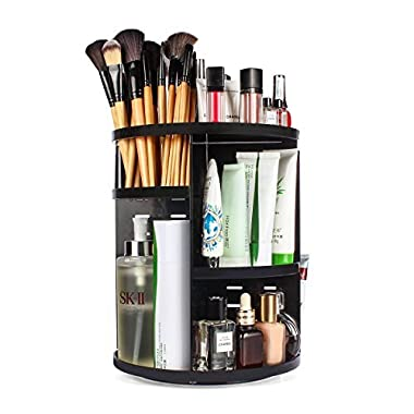 ELOKI 360 Rotating Makeup Organizer, DIY Adjustable Makeup Carousel Spinning Holder Storage Rack, Large Capacity Make up Caddy Shelf Cosmetics Organizer Box, Best for Countertop, Black