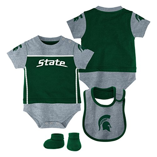 Genuine Stuff Michigan State Spartans Baby/Infant Lil Jersey Creeper, Bib, Bootie Set 3/6 Months