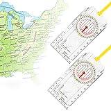 CHIFOOM 2 Pezzi Bussola di Navigazione,Orienteering Map Compass Avventura Professionale Equipaggiamento da Esterno Impermeabile con Cordino per Navigazione Campeggio Escursione Sopravvivenza