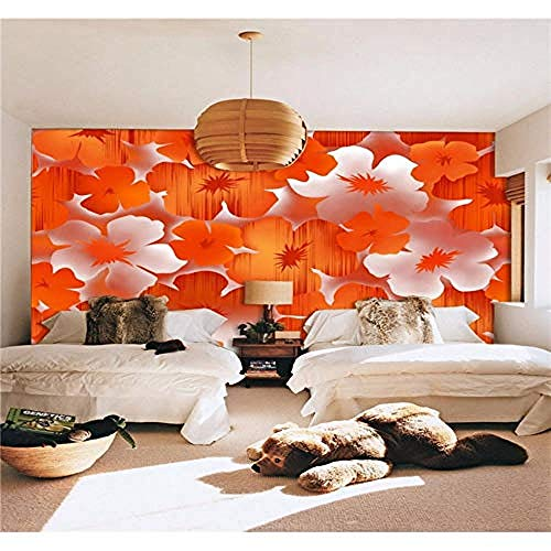 Foto Modern Elegant Orange Flower Hintergrund TV Schlafsofa Zimmer Bar Hotel Jede Größe Wanddekoration fototapete 3d Tapete effekt Vlies wandbild Schlafzimmer-430cm×300cm