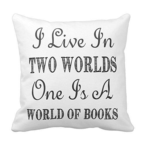 Fashion kussenhoes van katoen, vierkant, decoratieve overtrek I live in twee werelden/boeken en lezen citaat overtrek kussen beschermhoes voor 45,7 x 45,7 cm