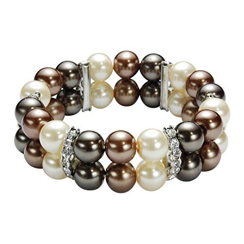 Multi-set parelarmbanden - armbanden met bruine parels en strass-steentjes - stretch armbanden voor vrouwen