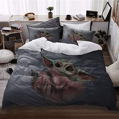 GD-SJK Amacigana Star Wars Baby Yoda - Juego de ropa de cama, impresión digital 3D, 100% poliéster, ropa de cama infantil, diseño de Star Wars (135 x 200/50 x 75)