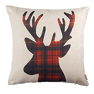 Fjfz Cotton Linen Home Decorative Throw Pillow Case Cushion Cover for Sofa Couch Christmas Winter Deer, Scottish Buffalo Plaid, Red, 18  x 18