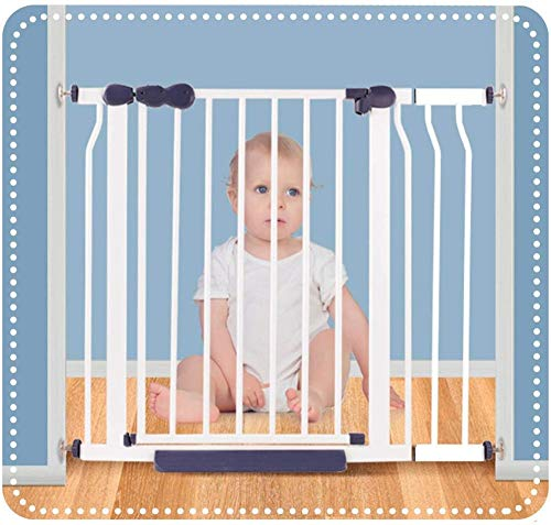 Barrera Seguridad Niños Protector Escaleras, Mascota Portón Auto Cerrado Aislamiento del Perro Cerca Niño Escalera Barrera De Puerta-El 160-167cm_Blanco