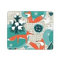 GUIGV マウスパッド 光学マウス対応 滑り止めゴム底 雪 狐 静か おしゃれ 防水 面白い 小型 30x25x0.3cm