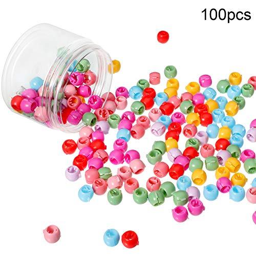 100 Stücke Mini Haar Klammer Clips Bunte Perle Haar Nadeln Schellen Kleine Kunststoff Haar Klammern für Mädchen Frauen Zubehör