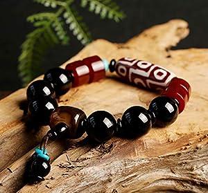 Deykhang Fengshui Schutz tibetischen Dzi Perlen Schwarz Rot Achat Reichtum buddhistischer Armband für Männer 16mm Amulett Talisman Armband Attract Geld Good Luck